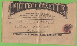 """BANDE-JOURNAL VICTORIA  THREE PENCE """"THE POTTERY GAZETTE"""" DE LONDRES POUR HAIDA,BOHEME - Stamped Stationery, Airletters & Aerogrammes"""