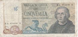BILLETE DE ITALIA DE 5000 LIRAS DEL AÑO 1973 DE CRISTOBAL COLON  (BANKNOTE) - 5000 Liras