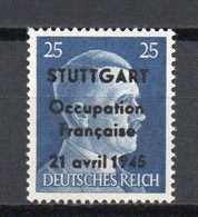 - FRANCE / TIMBRES DE LA LIBÉRATION / STUTTGART N° 5 Neuf ** MNH - 25 Pf. Bleu Hitler - Cote 90,00 € - - Liberazione