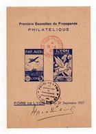 !!! BLOC FEUILLET 1ERE EXPO DE PROPAGANDE PHILATELIQUE DE LYON, CACHET FOIRE DE LYON DU 26/9/1937 - Blocs & Carnets