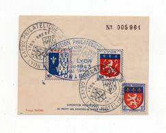 !!! BLOC FEUILLET EXPO PHILATELIQUE DE LYON DE 1943 AU PROFIT DES SINISTRES DE BREST CACHETS DE L'EXPO - Blocs & Carnets