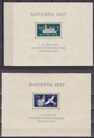 Danzig 1937 - Mi.Nr. Block 1 + 2 - Ungebraucht Mit Gummi Und Falzresten Auf Dem Blockrand MH - Dantzig