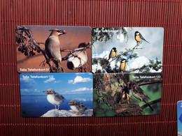 4 Phonecards Birds Used  Rare - Uccelli Canterini Ed Arboricoli