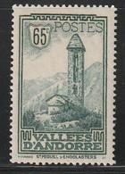 ANDORRE - N°36 ** (1932-33) 65c Vert Bleu - Unused Stamps