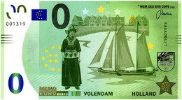 Billet Memo Euro - 0 Euro - Pays-Bas - Volendam (2018) - Autres