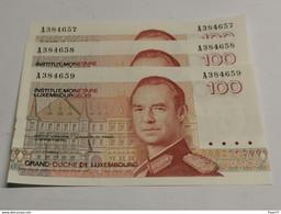 Luxembourg, 3x 100 Francs Numéros Suivis. Uncirculated - Luxembourg