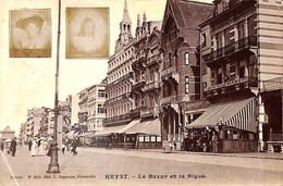 Heist - Heyst - Le Bazar Et La Digue (1904 Avec Insert 2 Photos Identité Système De Blankenberghe) - Heist