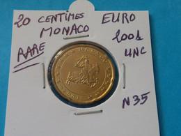 20 CENTIMES EURO MONACO 2001 Unc - Ref. N 35  ( 2 Photos ) - Monaco