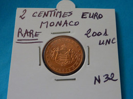 2 CENTIMES EURO MONACO 2001 Unc -  Ref. N 32   ( 3 Photos ) - Monaco