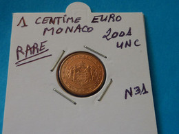 1 CENTIME EURO MONACO 2001 Unc -  Ref. N 31  ( 4 Photos ) - Monaco