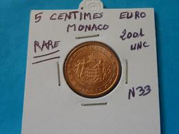 5 CENTIMES EURO MONACO 2001 Unc -  Ref. N 33  ( 3 Photos ) - Mónaco