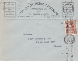 FROESCHLE, CUCHILLAS BLADES LAMES. ARGENTINE ENVELOPPE CIRCULEE 1939 BUENOS AIRES.- LILHU - Covers & Documents