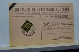 ACIREALE  -- CATANIA  -- LIBRERIA EDITRICE  E CARTOLERIA  XX SECOLO - Acireale