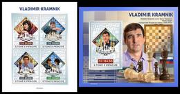 S. TOME & PRINCIPE 2021 - Vladimir Kramnik, Chess (Silver), M/S + S/S. Official Issue [ST210431-s] - Ajedrez