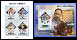 S. TOME & PRINCIPE 2021 - Veselin Topalov, Chess (Silver), M/S + S/S. Official Issue [ST210429-s] - Ajedrez