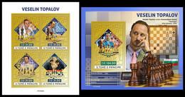 S. TOME & PRINCIPE 2021 - Veselin Topalov, Chess (Gold), M/S + S/S. Official Issue [ST210429-g] - Ajedrez
