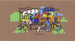 """Très Grand Et Ancien Buvard Non Publicitaire 31 X 16 Cm - """"EN VACANCES"""" Train Vapeur Gare Enfants..... - Transport"""