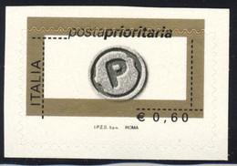 Varietà - 2004 Prioritario Da € 0,60 Senza Il Colore Salmone, Colore Nero E Fustellatura  Fortemente Spostata - Varietà E Curiosità