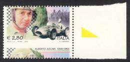 Varietà - 2005 Alberto Ascari € 2,80 Bordo Foglio Con Dentellatura Fortemente Spostata. MNH** - Varietà E Curiosità
