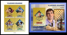 S. TOME & PRINCIPE 2021 - Vladimir Kramnik, Chess (Gold), M/S + S/S. Official Issue [ST210431-g] - Chess