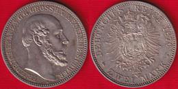 """Germany / Mecklenburg-Schwerin 2 Mark 1876 A Km#320 AG """"Friedrich Franz II"""" - 2, 3 & 5 Mark Silber"""