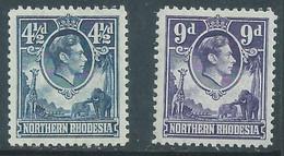 Northern Rhodesia, GVIR, 1952, 4d, 9d, MH * - Northern Rhodesia (...-1963)
