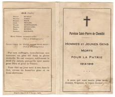 Guerre 14/18 SAINT PIERRE De CHEMILLE 49 - Diptyque Des MORTS Pour La PATRIE Dans Le CHRIST - 1914-18