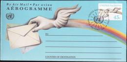 UNO NEW YORK 1992 Mi-Nr. LF 13 Ganzsache Luftpostfaltbrief Gestempelt EST - Luftpost