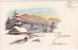 Voeux : Nouvel An : Bonne Année : Mignonnette : Paysage De Neige : édit. Sans Référence - N° 56 : ATTENTION Haut Droit - Anno Nuovo