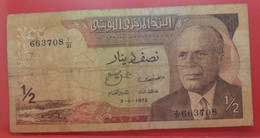 1/2 Dinar 1972 - B+ - Ancienne Billet Collection Tunisie - N22209 - Tunisia
