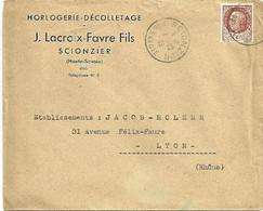 SAVOIE / HAUTE Dépt N° 74 = SCIONZIER 1943 = Cachet Manuel A4 + Ets LACROIX FAVRE / HORLOGERIE - Cachets Manuels