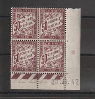 France Coin Daté 1942 Taxe 37 ** MNH - Portomarken