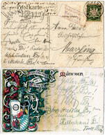 Bayern 1908, Posthilfstelle Marzling Taxe Freising Als Ank.Stpl. Auf AK M. 5 Pf. - Bayern