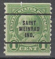 USA Precancel Vorausentwertungen Preos, Bureau Indiana, Saint Meinrad 597-63 - Precancels