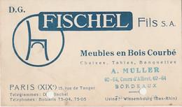PARIS (XIX°) 15 RUE DE TANGER - FISCHEL FILS - MEUBLES EN BOIS COURBE - CHAISE , TABLES - A. MULLER BORDEAUX - Cartoncini Da Visita