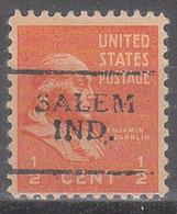 USA Precancel Vorausentwertungen Preos, Locals Indiana, Salem 701 - Vorausentwertungen