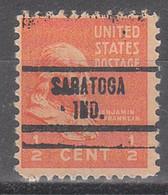 USA Precancel Vorausentwertungen Preos, Locals Indiana, Saratoga 734 - Vorausentwertungen