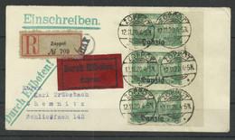 Danzig 9 Senkr. SR-Dreier Auf Eilboten-R-Brief Zoppot Nach Chemnitz, Geprüft Kniep - Other