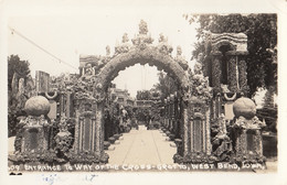 West Bend Iowa - Entrance To Way Of The Cross Grotto Real Photo Postcard RPPC - Other