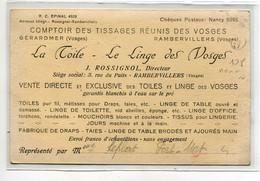 88 RAMBERVILLERS Carte Rare  PUBLICITE   Comptoir Tissages Réunis Des Vosges J Rossignol Directeur  D18 2021 - Rambervillers