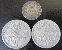 Indochine - 3 Monnaies : 10 Centimes Argent 1929 A + 20 Centimes 1945 X 2 - Colonie