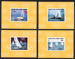 Comoros, Comores, 1983, Olympic Summer Games Los Angeles, Sailing, Sports, MNH Deluxe Sheets, Michel 686-689 - Comores (1975-...)