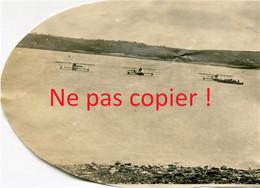 3 PHOTOS FRANCAISES FORMANT UN PANORAMA SUR LES HYDRO BIPLAN DU TERRAIN D'AVIATION DE CAMARET SUR MER BRETAGNE 1914 1918 - 1914-18