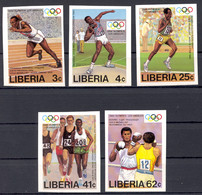 Liberia, 1984, Olympic Summer Games Los Angeles, Sports, Athletics, Boxing, MNH Imperforated, Michel 1305-1309B - Liberia