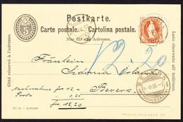1906 GZ Karte Mit Zusatzfrankatur Aus Madulein Nach Bevers. Quittung Elektrizitätswerk - Briefe U. Dokumente