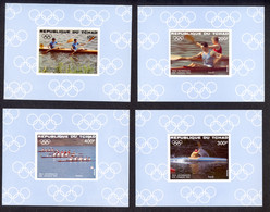Chad, 1984, Olympic Summer Games Los Angeles, Rowing, Sports, MNH Deluxe Sheets, Michel 1056-1059B - Tchad (1960-...)