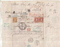 FRANCE : EMPIRE . AFFRANCHISSEMENT TRICOLORE A 1F30 . POUR LES ETATS - UNIS . 1856 . ( DEFAUT ) . - 1849-1876: Periodo Clásico