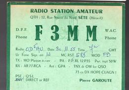 Sète (34 Hérault)  Carte QSL De RADIO  AMATEUR 1955 Avec 2 Vignettes QSL  Bleues Au Verso  (PPP32110) - Sete (Cette)