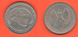 Germania 5 Mark 1982 Marchi Germany Wolfang Von Goethe Nickel Coin - 5 Mark