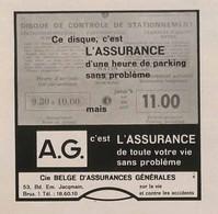 Publicité Papier ASSURANCES GENERALES DISQUE DE STATIONNEMENT   1965 PIP1058946 - Publicidad
